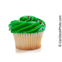 Green Cupcake with sprinkles on white