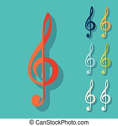 Flat design: treble clef