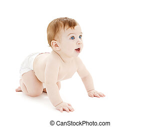 crawling curious baby - bright picture of crawling curious...