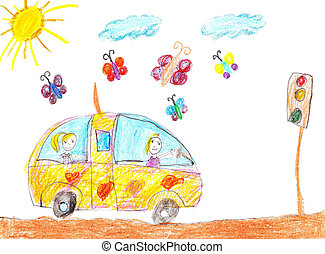 Children drawing car trip - Happy kids ride on car and...