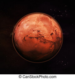 Mars - The Red Planet - Planet Mars in space, visible red...