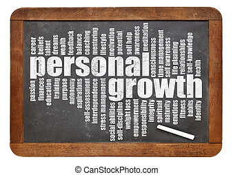 personal growth word cloud on a slate blackboard isolated on...