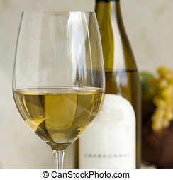 chardonnay wine - glass of chardonnay wine with simple props...