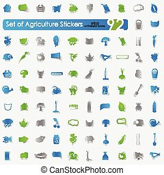 Set of agriculture stickers
