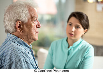 Lonely man in retirement home - Lonely senior man staying in...