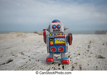 My sweet tin toy robot on the rocks - My retro style tin toy...
