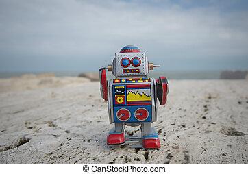 My sweet tin toy robot on the rocks - My retro style tin toy...