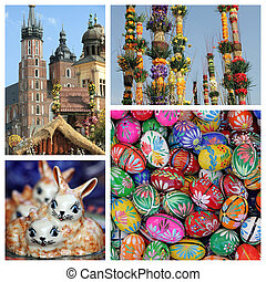 Easter time collage - images from Krakow, Poland, Europe