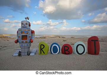 Tin toy robot concept with name - stone name of robot with a...