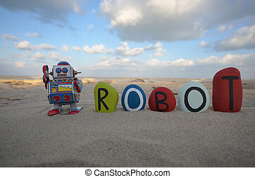 Robot, tin toy retro style - Robot and stone colored name on...