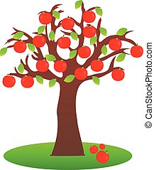 Apple tree - Illustration of isolated apple tree on white...