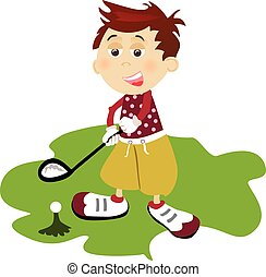 Golf player - Illustration of young golf player on white...