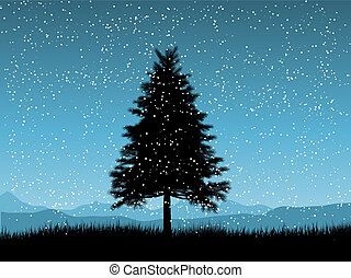 christmas tree on a snowy night - Silhouette of a fir tree...