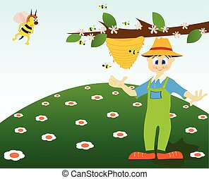 Honey thief - Illustration of a honey thief and an angry...