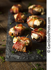 Homemade Bacon Wrapped Mushrooms Stuffed with Cream Cheese