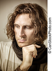young man curly hair - An image of a young man with curly...