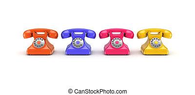 3d rendered retro telephone.