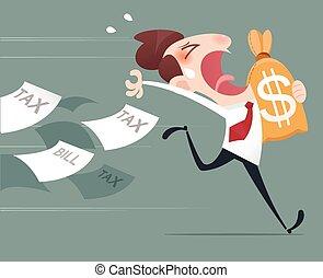 Debt - Businessman running away from tax
