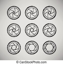 Vector drawn camera shutter apertures set on grey background...