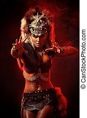 shaman woman - Amazing bellicose Amazon woman in battle....