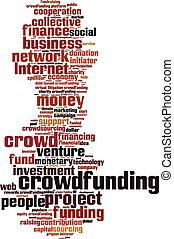 Crowdfunding word cloud concept Vector illustration
