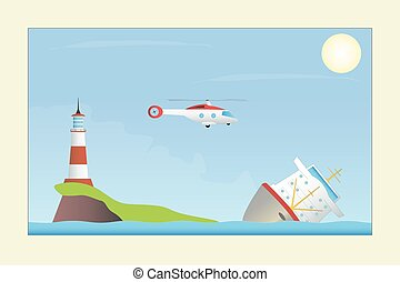 A ship in distress Vector illustration EPS10 Opacity