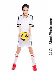woman with soccer ball - beautiful asian girl holding a...