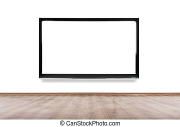 Empty room with HD TV at the wall, clipping path for the...