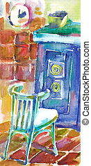 An hand painted picture - at home - An hand painted...