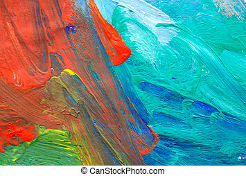Abstract Child Art - The picture painted by the hands of a...
