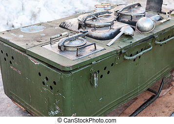 Mobile metal kitchen stove to feed soldiers