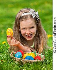イースター, 屋外, 卵, ファインド, 子供