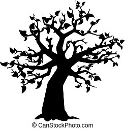 Black tree with leaves silhouette on white