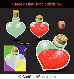 Vector illustration. Magic elixir in different colors with a...