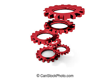 tower of red colored metallic cogwheels hovering...