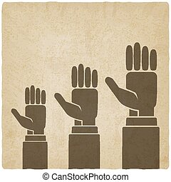 hands up concept old background - vector illustration. eps...