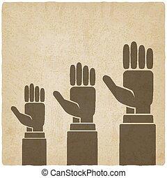 hands up concept old background - vector illustration. eps...