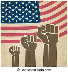fist independence symbol American flag old background