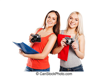 dois, femininas, estudantes, com, photocamera., estudantes,...