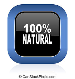 natural square glossy icon 100 percent natural sign