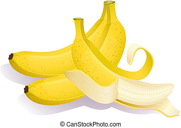 banana - Vector illustration - Three ripe bananas