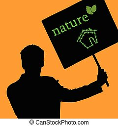 nature eco house color vector with man
