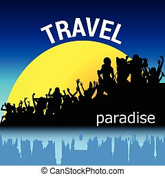 travel with people silhouette vector - travel with people...