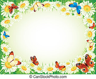 butterfly and flowers - Vector illustration - frame whis...