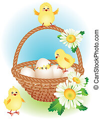 easter basket - vector illustration - easter greeting card