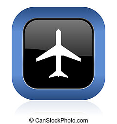 plane square glossy icon airport sign