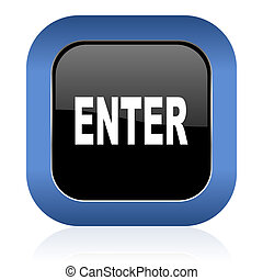 enter square glossy icon