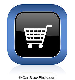 cart square glossy icon shop sign