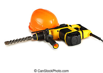 professional rotary hammer drill and a construction helmet