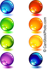 glass button - Vector illustration - Eight glass colour...